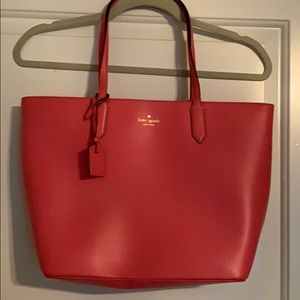 Kate Spade pink/coral leather tote-style purse